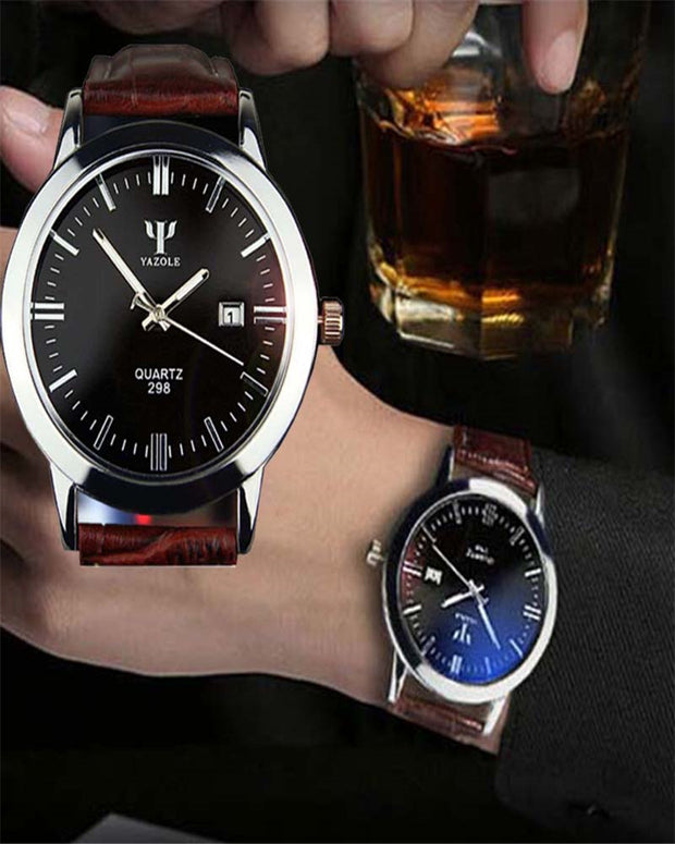 Mens Watches Top Brand Luxury Waterproof Man Leather Band Calendar Date Analog Quartz Wrist Watch Relogios Masculine Gift