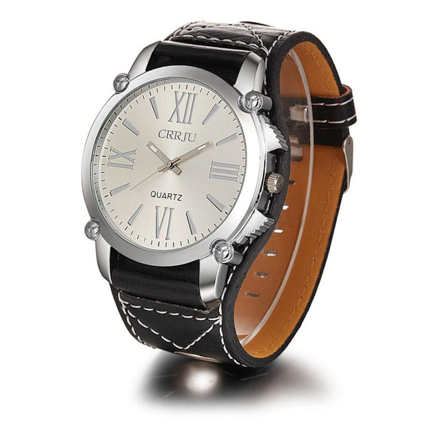 Mens Wide Leather Band Watches 2017 Fashion Roman Numerals Dial Analog Quartz Wristwatches Casual Sports Men Watch Dec15