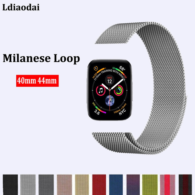 Milanese Loop Correas For Apple Watch Band Series 4 40mm 44mm Watchband Strap Stainless Steel Cinturino Wris Bracelet Belt