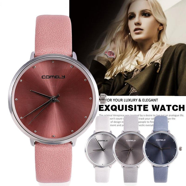 Minimalist Style Casual Watch For Women Hot Simple Stainless Steel Quartz Diamond Wristwatch Large Dial Luxury Reloj Mujer
