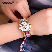 Montre Femme Watches Women Fashion Wool Knit Ear Glass Cat Glasses Watch New National Pink Series Weave Ladies Bracelet Watch
