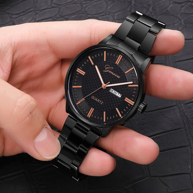 Montre Homme Luxury Quartz Sport Military Stainless Steel Dial Alloy Band Wrist Watch Erkek Saat Zegarek Meski