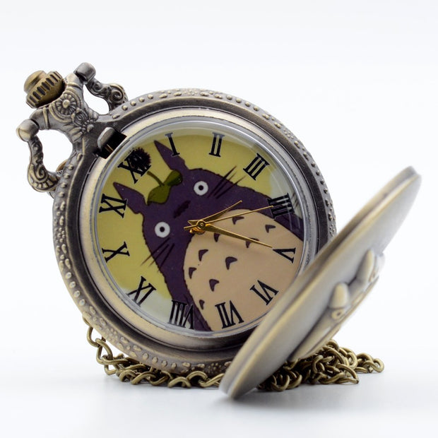 My Neighbor Totoro Japanese Animated Film Movie Totoro Dial Quartz Pocket Watch Necklace Men Women Boy Girl Pocket Fob Watch