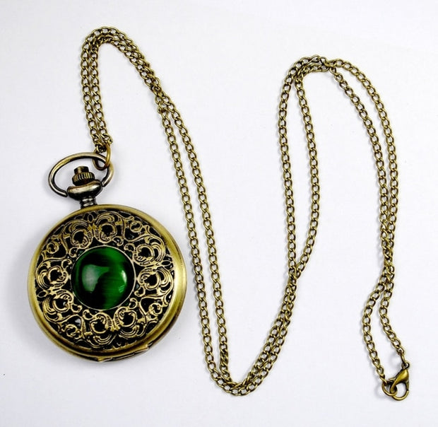 NEW Big Vintage Emerald Stone Pocket Watch Green Necklace Woman