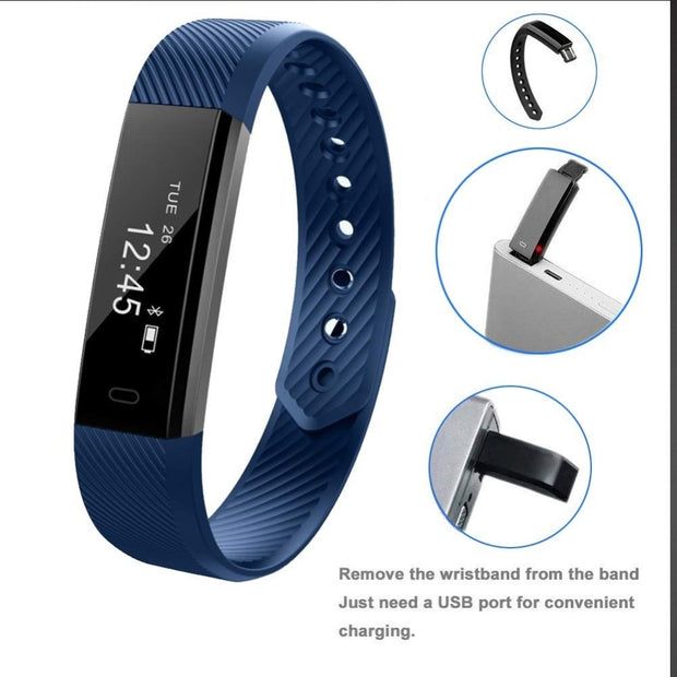 NEW ID115HR Smart Band Heart Rate Sport Watch For Men Women Fitness Tracker Pedometer Anti-Lost Alarm Calories Counter Bracelet