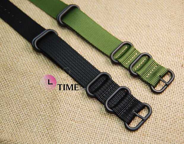 Nato 18/20/ 22/24mm ZULU Black Military Watch Strap Band Strong Heavy Duty Nylon Divers Silver Brushed Buckle Free Shipping