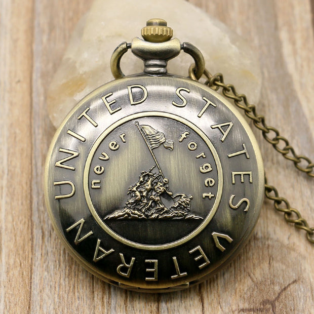 Never Forget The History Retro Bronze Pocket Watch With Chain Best Gift To United States Veterans Young People