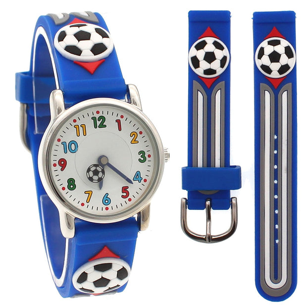 New 3D Cartoon Fashion Silicone Football Kids Watch Children Girls Boys Students Quartz Wristwatches Relogio Kol Saati Clock A26