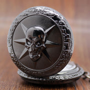 New Arrival Skull Shape Black Colour Pocket Watches Creative Fashion Design Pocket Watch Quartz Fob Watch Gift For Men