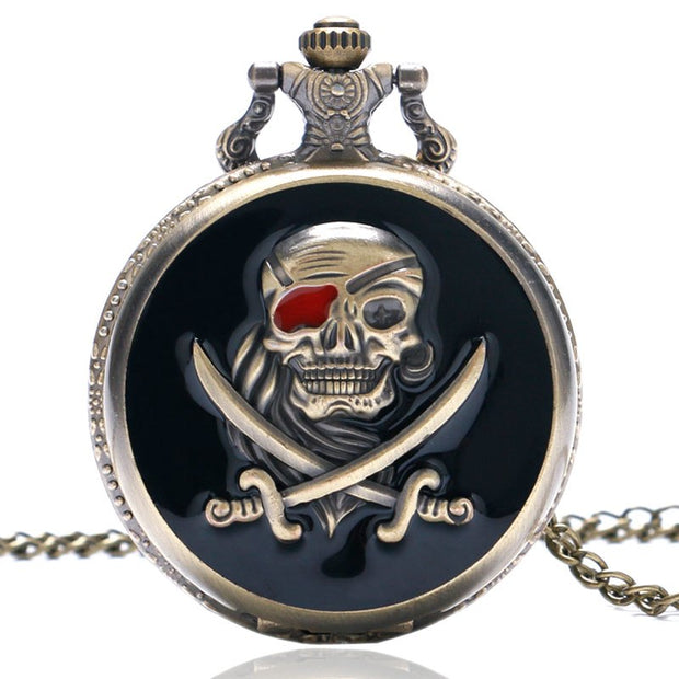 New Arrival Skull Shape Pocket Watches Creative Fashion Design Pocket Watch Quartz Fob Watch Gift For Men