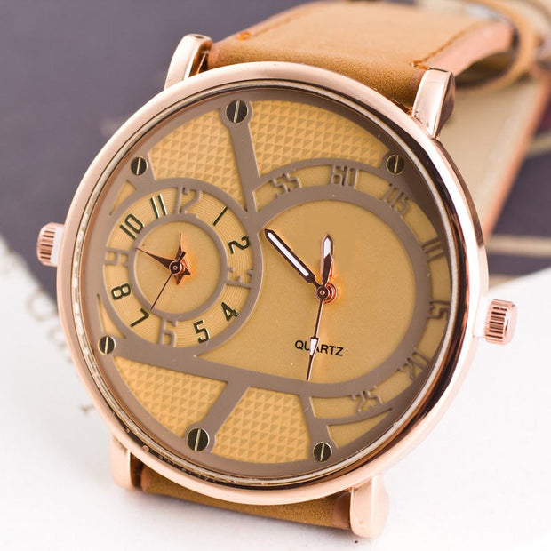 New Business Quartz Watch Men Military Watches Men Leather Double Movement Watch