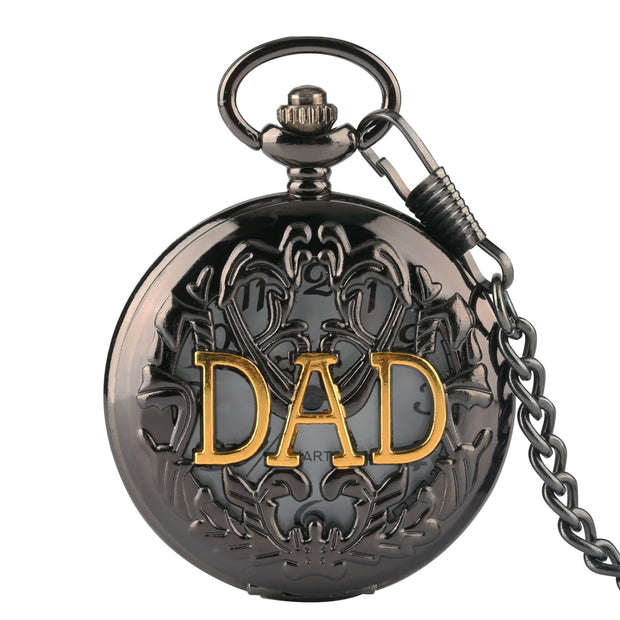 New Fashion Design Bronze DAD Father Hollow Quartz Pocket Watch Analog Pendant Necklace Gift's For Men