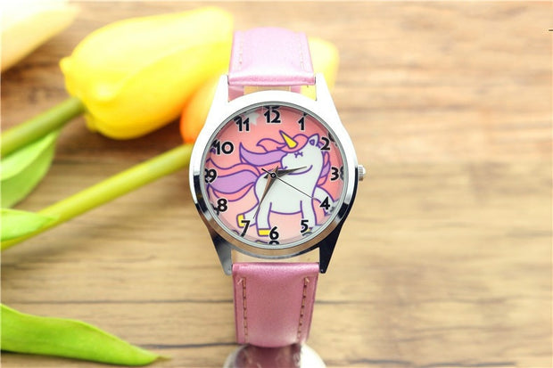 New Fashion Kids Watch Christmas Gift Cute Pink Unicorn Girl's Boy's Children Watch Sports Jelly Leather Students Woman Watch