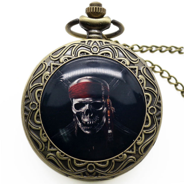 New Fashion Style Hot Sale Pocket Watch, Bronze Black Skull Bone Pocket Watch For Men, Pendant Accessory Gift For Men