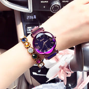 New Fashion Top Rosy Gold Mesh Magnet Starry Sky Quartz Watch Women Casual Watches Relogio Feminino Ladies Wrist Watch Hot Sale
