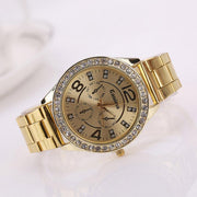 New Fashionable Quartz Rhinestone Decoration Stainless Steel Strap Female Watch