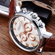 New Men Watch Stainless Steel Quartz Black Wrist PU Leather Fashion Dial Reloj Wholesale Oct5