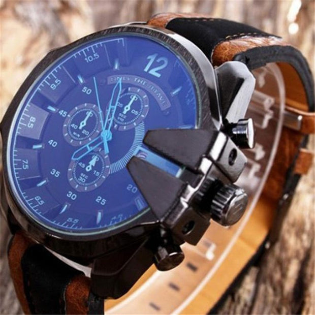 New Men's Analog Sport Steel Case Quartz Dial Synthetic Leather Fashion Wrist Watch Classics Casual Sport Watches Gifts F75
