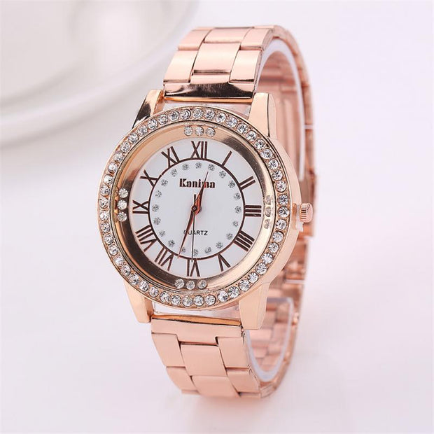New Rose Gold Champagne Watch Luxury Women Dress Rhinestone Quartz Watch Casual Women Alloy Wristwatches Female Clock