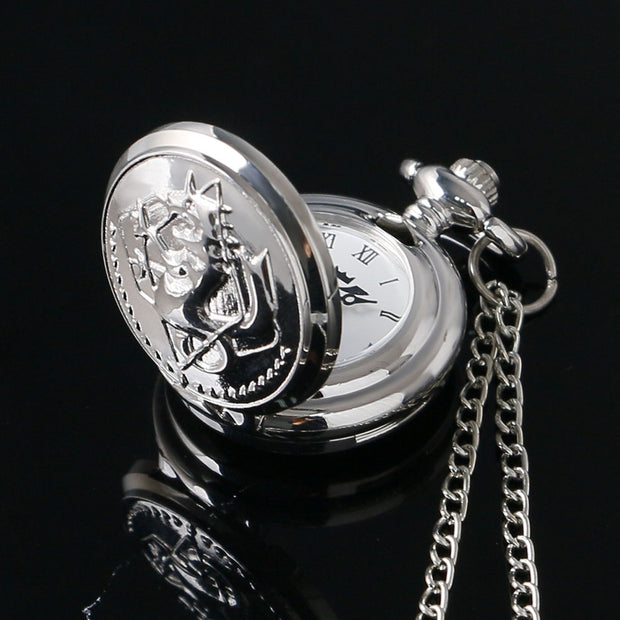 New Style Hot Sale Fashion Silver Fullmetal Alchemist Theme Fob Pendant Pocket Watch With Necklace Chain Drop Shipping Small