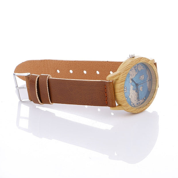 New Unisex Fashion Simulation Wooden Wristwatch Men Leather Band Lovers Wood Clock Women's World Map Watch LZ2260