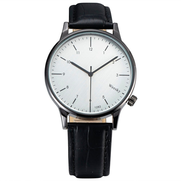 New Weesky Fashion Clock Men Quartz Watches Steel Thin Case Classic Simple Round Analog Dial Leather Strap Wristwatch Mens