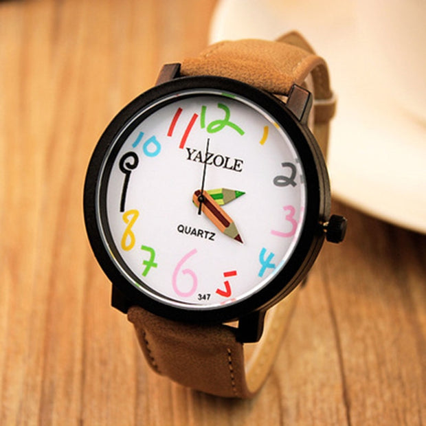 New YAZOLE Watch Korean Version Of The Big Dial Female Students Watch Couple Quartz Wristwatches Reloje Mujer Pen Design Needle