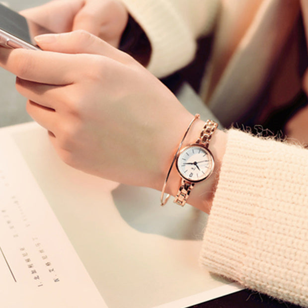 New Fashion Classic Men Women Gold Bracelet Watch Luxury Timepiece Full Stainless Steel Women Quartz Wrist Watches