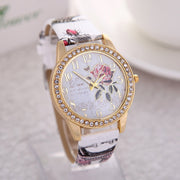 New Hot-selling Fashion Inlay Gold-plated Personality Graffiti Charming Rose Spot Belt Watch