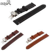 Newest Fashion Unisex Watchbands Womens Leather Watch Strap Band Mens Stainless Steel Buckle 18 20 22mm