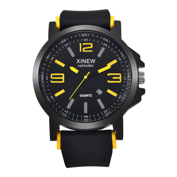 Newest Luxury Brand XINEW Men Sports Watches Fashion Casual Rubber Watches Army Quartz Clock Military Watches Reloj Wristwatches