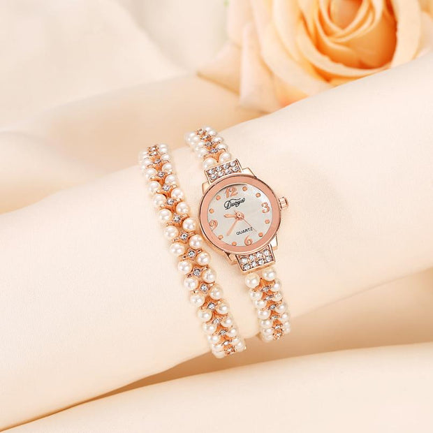 Newly Designed Superior Quartz Watch Women Gold Pearl Jewelry Steel Bracelet Wristwatch Crystal Casual July 14 Levert Dropship