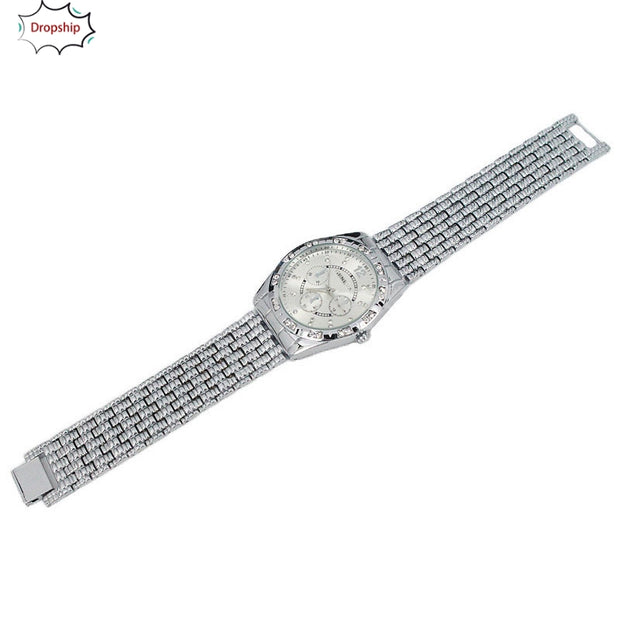 OYOKY Luxury Men Diamond Metal Band Analog Quartz Fashion Wrist Watch So Cool 18Oct5