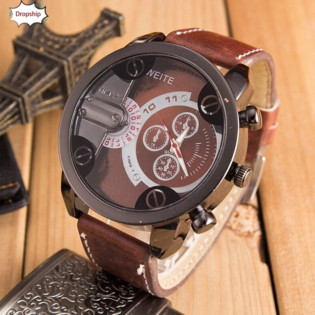 OYOKY Men Watches Retro Fashion Luxury Mens Analog Sport Steel Case Quartz Leather Wrist Watch Watches DropShiping Sep21