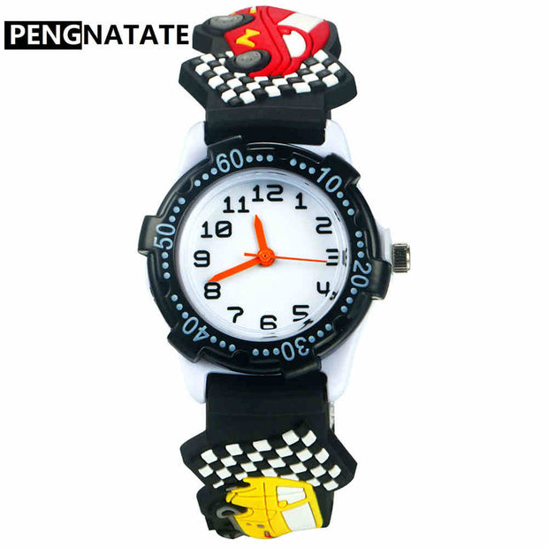 PENGNATATE Kids Watches Boys Silicone Jelly 3D Racing Car Watch Cute Gift Clock Fashion Children Cartoon Bracelet Wristwatches