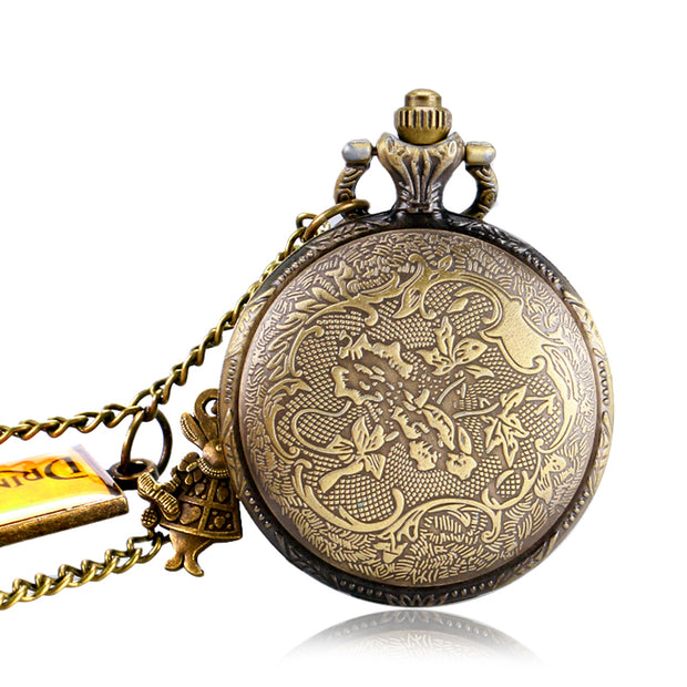 Pocket Watch Drink Me Tag Cute Gift Chain Alice In Wonderland Vintage Necklace Women Rabbit Men Bronze