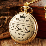 Pocket Watch TO MY SON I LOVE YOU Laser Engraved Quartz Flip Clock For Children's Fob Chain Clock Kids Gifts Present For Son