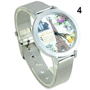 Popular Girls Eiffel Tower Face Silver Band Quartz Artistic Wrist Watch For Dress Design NO181 5UVQ