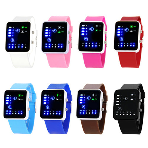 Popular Mens Womens Binary Number Blue LED Wristwatches Silicone Band Quartz Wrist Watch NO181 5V4Y