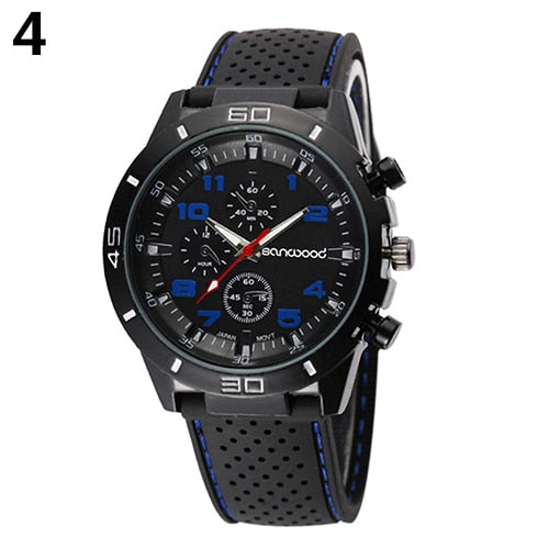 Popular Outdoor Design Men's Fashion Silicone Band Stainless Steel Analog Sport Quartz Wrist Watch