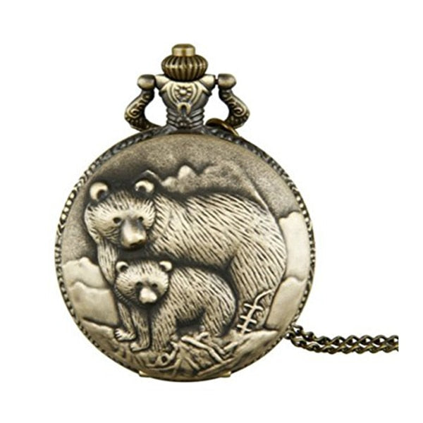 Practical Antique Bronze Two Bears Quartz Movement Pocket Watch For Men And Women
