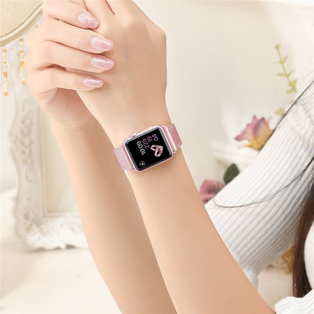 Quality Blue Leather Smart Watch Strap For IWatch Series 1 2 3 Replaceable Wrist Band 38mm 42mm For Apple Watch Accessories