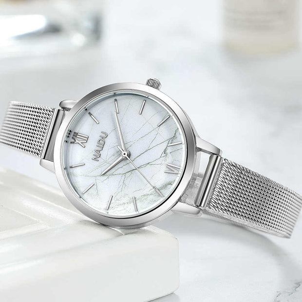Quartz Dress Watch Women Luxury Top Brand Stainless Steel Mesh Band Wrist Watch Silver Women's Jewelry Watches Ladies Girl Clock