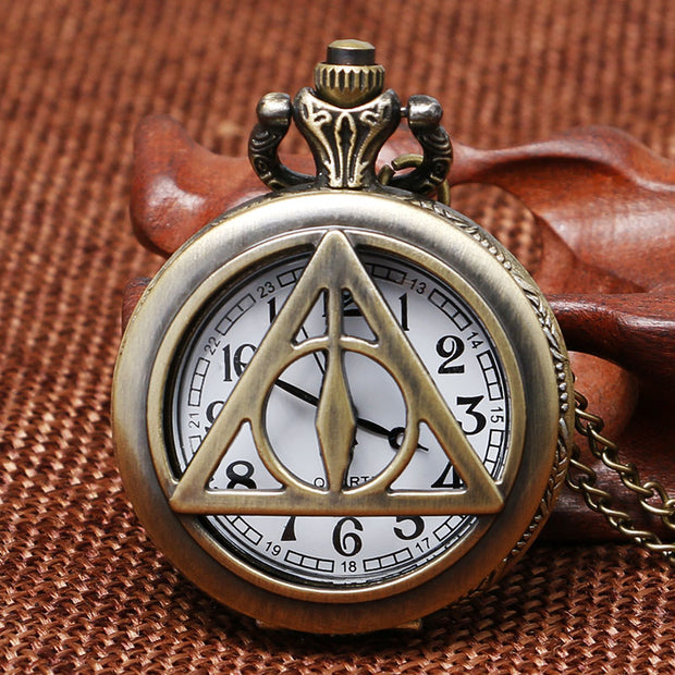 Quartz Pocket Watch Hogwarts The Deathly Hallows Stainless Steel Necklace Chain Fob Watches For Men Women Gifts