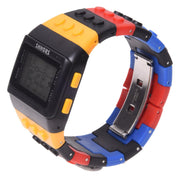 Rainbow Rubber LCD Digital Alarm Men's Ladies Black Case Sport Watch LED096