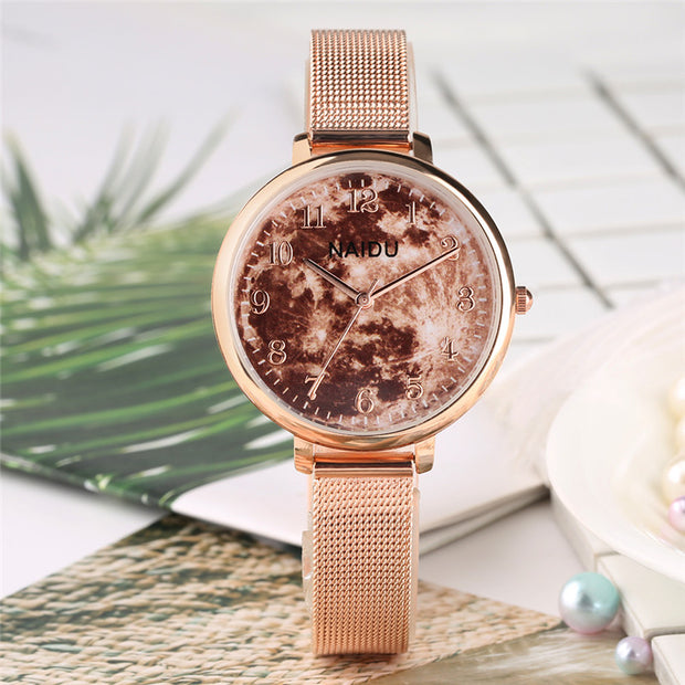 Relogio Feminino Wine Red Watch Delicate Stainless Steel Watch Band-Pink Quartz Watch Women Watches Brand Luxury