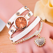 Relojes Para Mujer Rope Drilled Litchi Pendant Belt Bracelet Watch Triple Loop Top Retro Watch Fashion Style Women Dress Watches