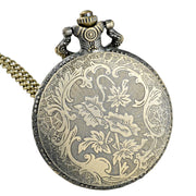 Retro Bronze Owl Face Quartz Pocket Watch Chains Antique Men Pendant Necklace Clock Gift