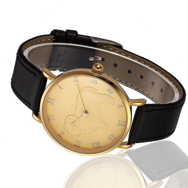 Retro Fashion Sheep Pattern Men Quartz Wrist Watch Leather Band Watch #25