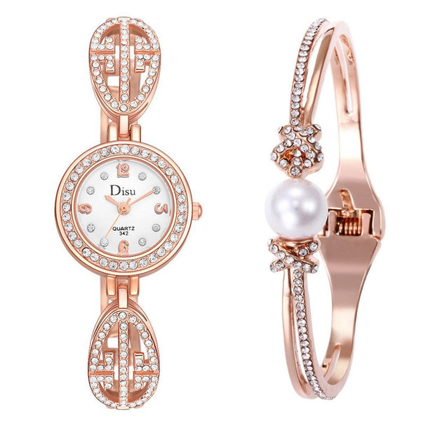 Rose Gold Casual Quartz Ladies WristWatches DISU New Arrive Round Dial Creative Women Fashion Luxury Watch Dress Quartz Clock